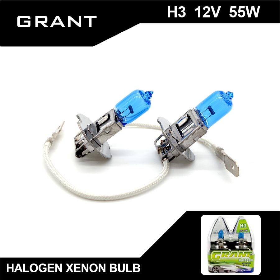 GRANT 1SET H3 Halogen Xenon Bulbs 55W 5000K Super White DC12V Auto halogen lamp For Audi TT civic ford mondeo Pajero volvo