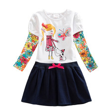 2-8Y Retail Dresses for Girls Baby Long Sleeve Clothes Tutu Party Flower Girl Dresses Neat Children Kid Dresses LH5802 H5802 Mix