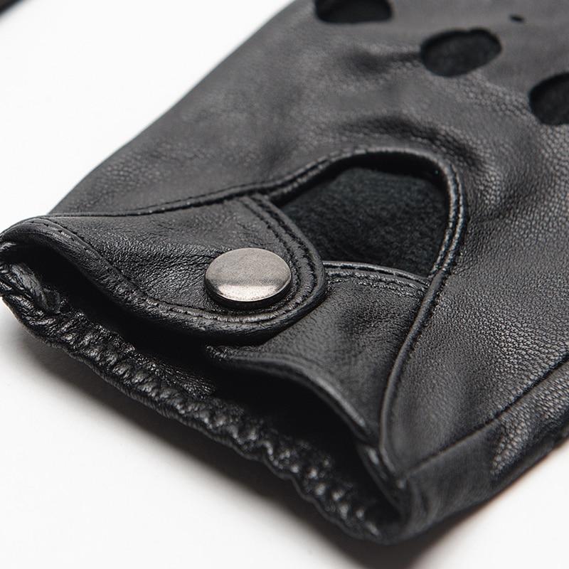 Image 5 - Gours Genuine Leather Gloves for Women Black Fashion Goatskin Fingerless Gloves Winter Half Finger Fitness New Arrival GSL052Womens Gloves   -