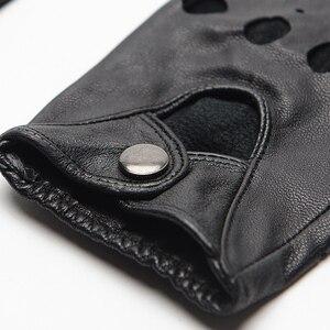 Image 5 - Gours Genuine Leather Gloves for Women Black Fashion Goatskin Fingerless Gloves Winter Half Finger Fitness New Arrival GSL052