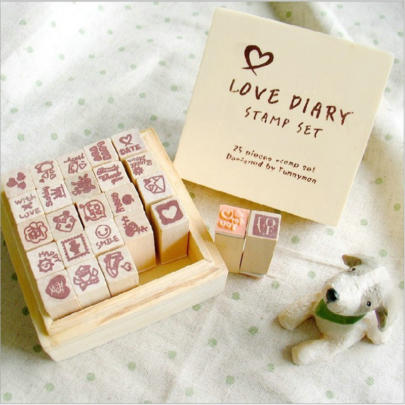 1 Box 25Pcs Love Diary Stamp Set Children Cartoon Toys Cute Stamp DIY Decoration sdfsd 25 box [03050122 sdsdf