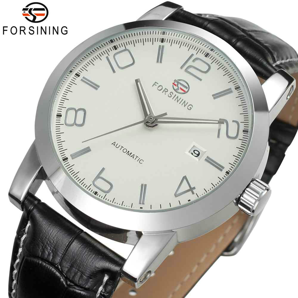 FORSINING 2018 Concise Chic Auto Mechanical Watch Men Leather Strap White Dial Calendar Mens Watches Top Brand Luxury relogio 2018 forsining mens watches top brand luxury auto mechanical watch black leather strap skeleton dial fashion casual wristwatches