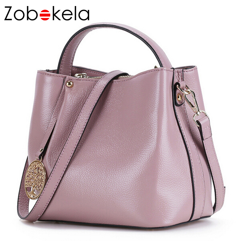 ZOBOKELA Genuine Leather Women Messenger Bag female luxury handbag women bag designer Ladies women Shoulder Bag crossbody tote luxury genuine leather bag fashion brand designer women handbag cowhide leather shoulder composite bag casual totes