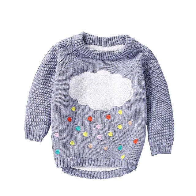 Suéter de los niños Muchachas de Los Bebés de Punto Suéteres Nube de Lluvia de Colores 2 a 6Y Bebé Ropa Niñas Muchachos de la Ropa de Terciopelo