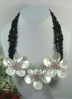 Natural black onyx @ shell @ Crystal Flower Necklace