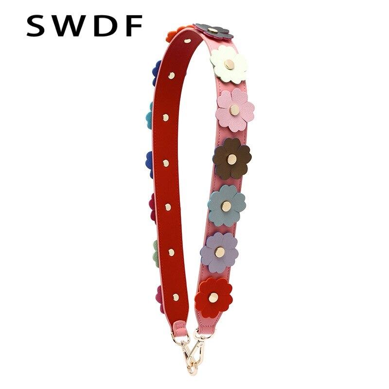 SWDF 2018 Fashion Flower Bag Strap Women Shoulder Strap Rivet Cowhide Bag Straps Female Handbag Strap Bag Accessories