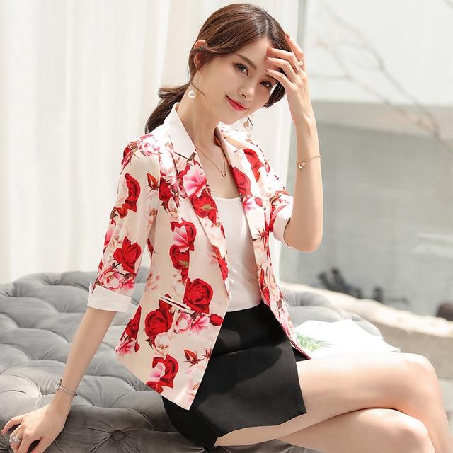 Korean Blazer Mujer Elegante Casual Flores Harajuku Pink Ladies Blazer Women Office Wear Chamarras De Mujer Ladies Coats 50A032