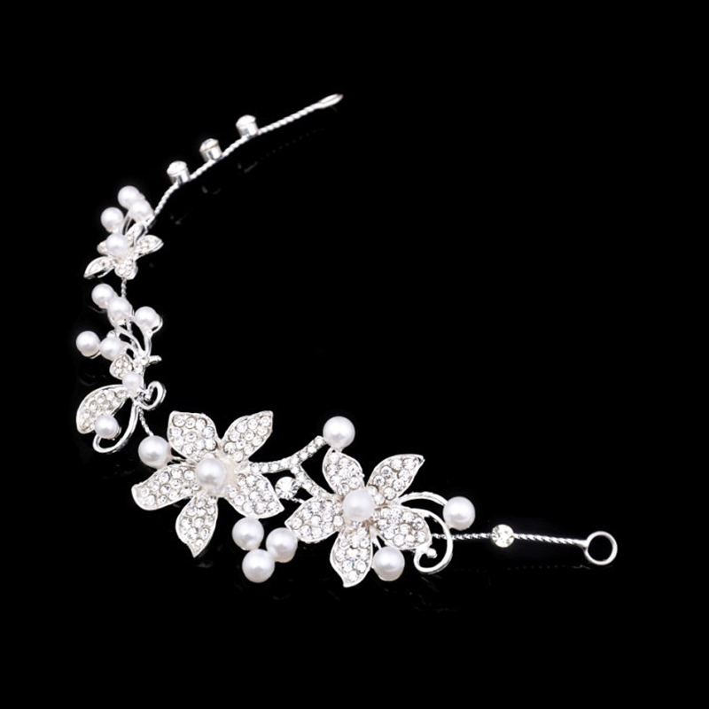 Bröllop Bridal Party Pearl Diamante Kärlek Flower Tiara Women Romantic Headband Head Hair Bands Headress Headwear TillbehörH-025