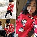 2016 nueva familia family clothing trajes a juego otoño padre madre del bebé causal capucha panda de manga larga t-shirt envío gratis