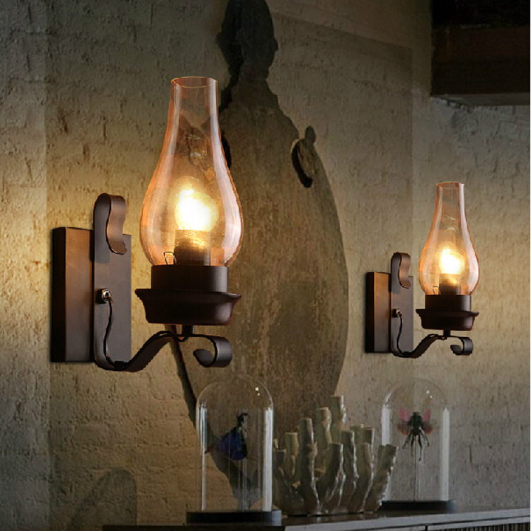 American industrial wind retro wall lamp personality simple restaurant bedroom aisle staircase wrought iron wall lamp