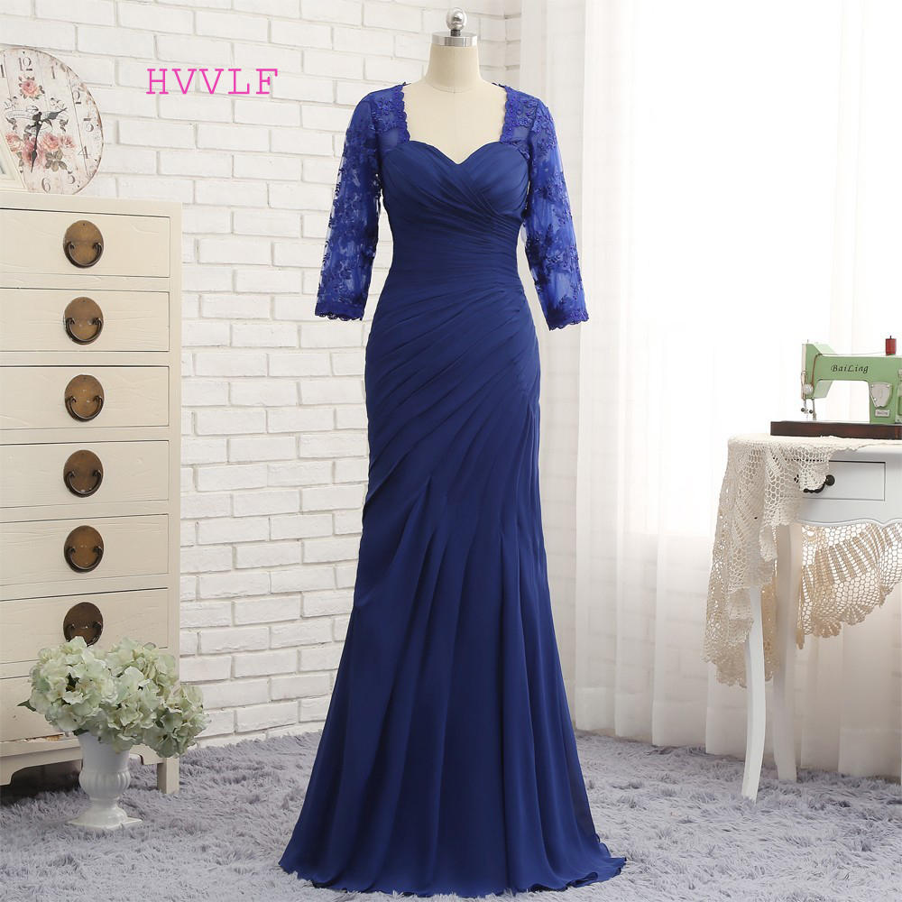 Plus Size Royal Blue 2019 Mother Of The Bride Dresses Mermaid 3/4 Sleeves Lace Long Evening Dresses Mother Dresses For Wedding