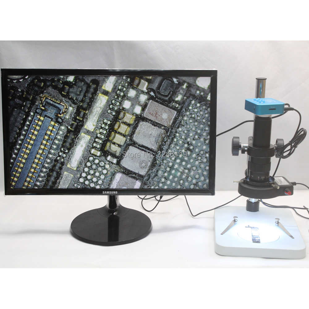 Full HD 20MP 1080 P 60FPS HDMI USB Mikroskop Industri Kamera 180X 200X C-Mount Mikro Lensa Fokus stand LED Sumber Cahaya