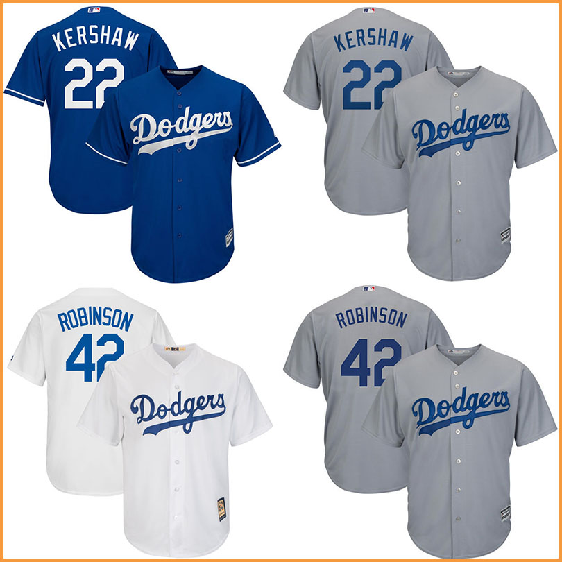 ... Mens Los Angeles Dodgers 22 Clayton Kershaw jersey 42 Jackie Robinson  Majestic Cool Base Player baseball ... 21a988b97