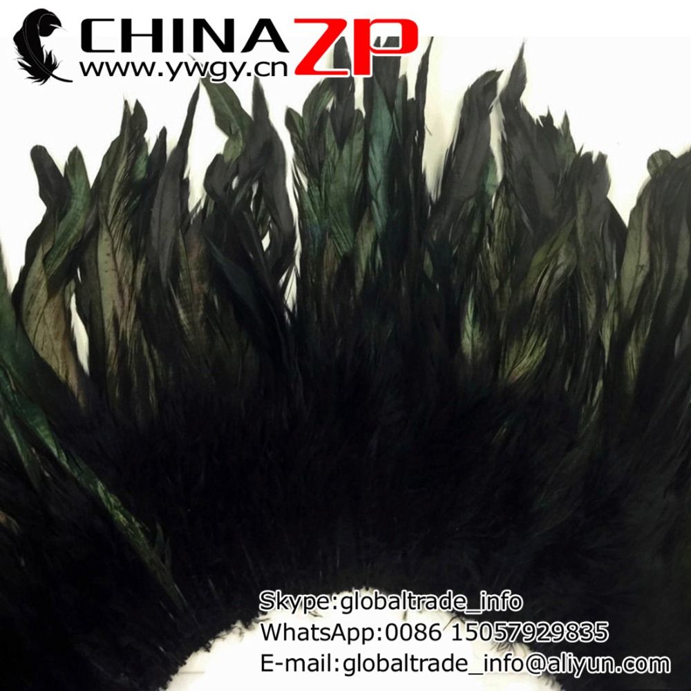 CHINAZP Factory 200pcs/lot Exporting Good Quality Dyed Black Strung Rooster Schlappen Feathers