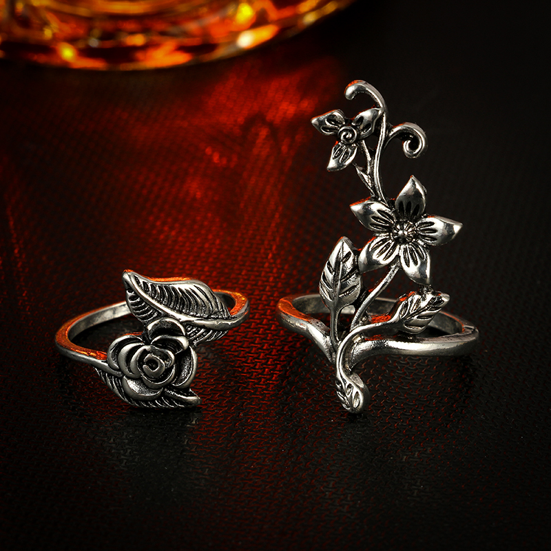 Tocona 4pcs/set Antique Silver Color Vintage Bohemia Ring Set Rose Flower Rings for Women Charm Bohemia Floral Knuckle Ring 6047 4