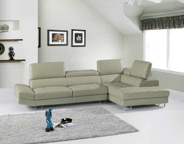 grey color high-grade leather sofa 2015 new living room sofa sectional headrest adjustable shipping to sea port