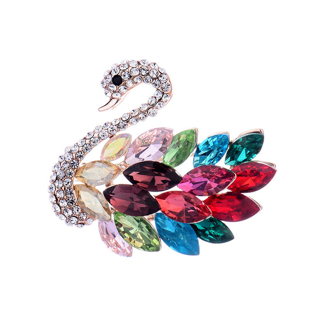 baiduqiandu Brand Exquisite Multiple Colors Glass Crystal Rhinestones Swan Brooc