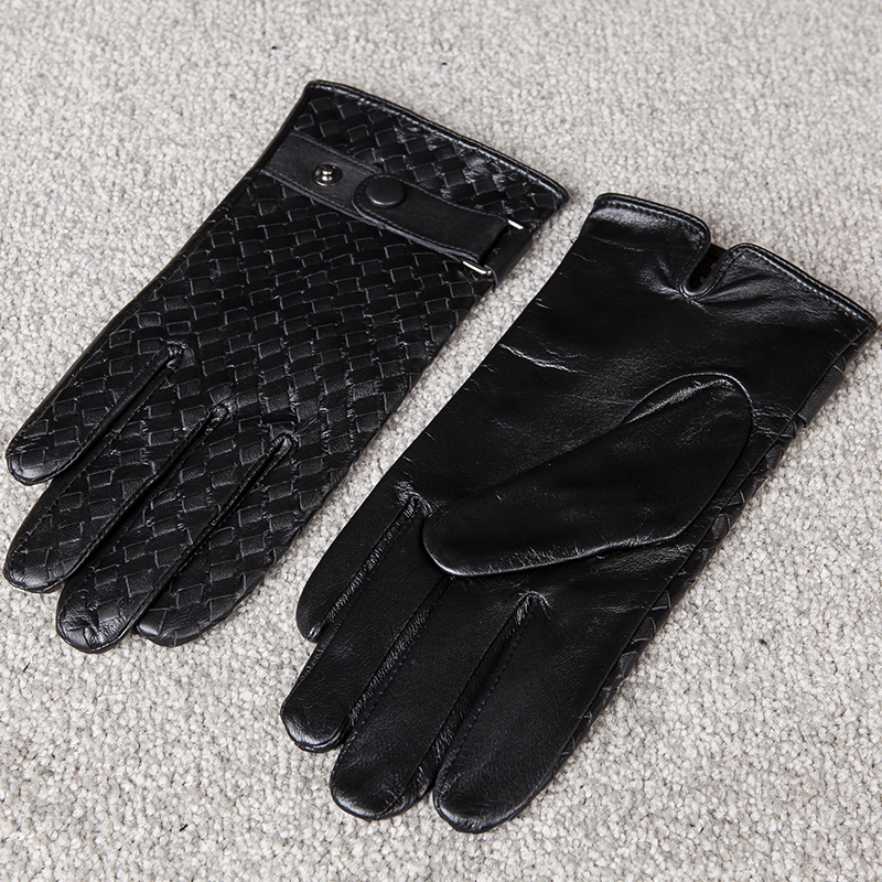 e2030df435da9 Free Shipping Fashion Men High Quality Men Leather Gloves Hand Woven Button  Driving Goatskin Gloves Winter Warm Gloves-in Men's Gloves from Apparel ...