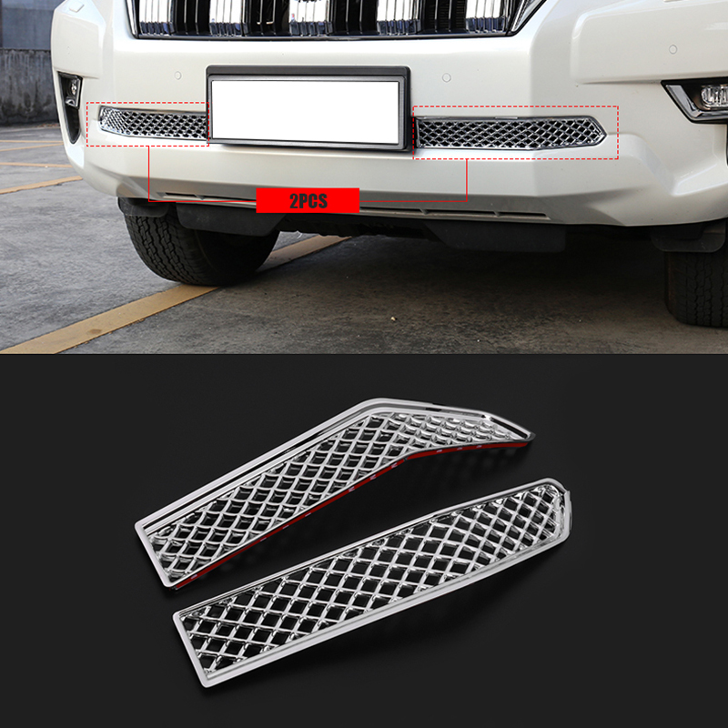 2PCS ABS Chrome Car Insect Screening Mesh Front Lower Grille For Toyota Land Cruiser Prado 150