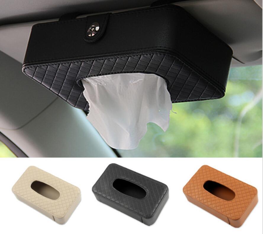 1pcs Top Quality Car Sun Visor Hanging Leather Tissue Boxes For Audi A1 A3 A4 A5 A6 A7 A8 Q3 Q5 Q7 RS3 RS5 RS6 RS7 S5 S6 S7 V8