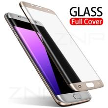 e6711cd105e Protector de pantalla con borde curvado ZNP 3D para Samsung Galaxy S7 S6  Edge vidrio templado