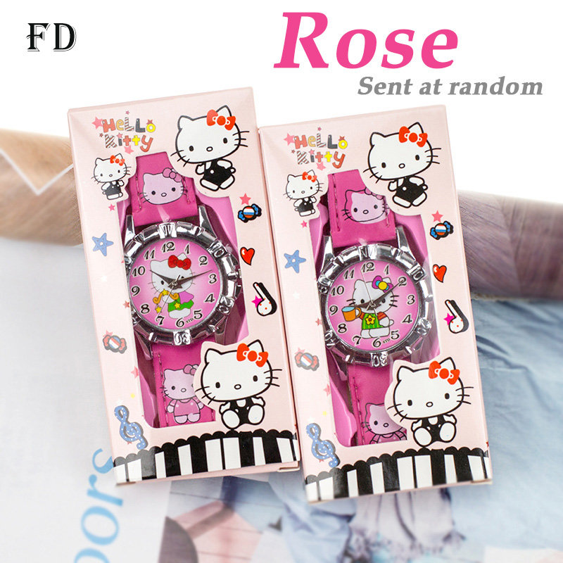 FD Hot Cartoon Princess Elsa Pattern Barnvakt med låda Girls Quartz Armbandsur Casual Leather Strap Boy Kids Gifts Clock