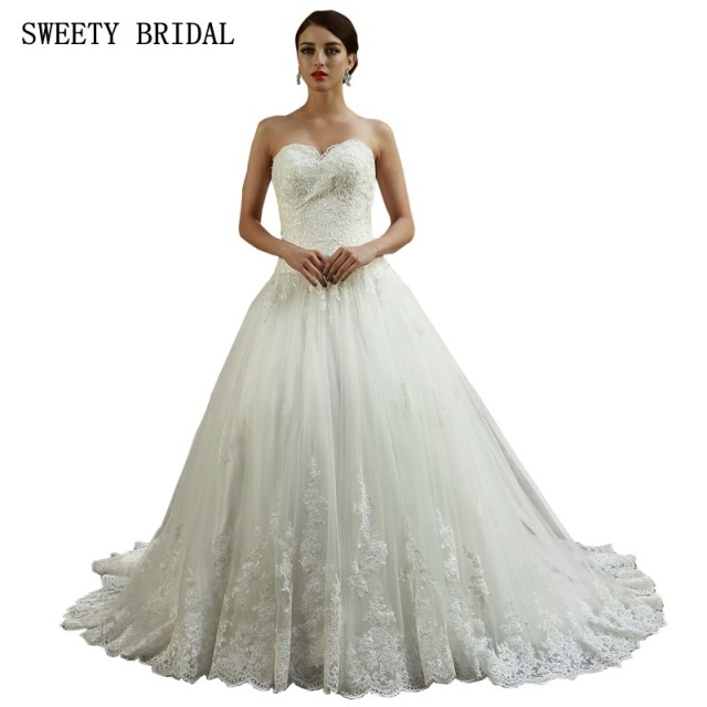 A Line Sweetheart Long Train Lace Wedding Dresses White Ivory Gorgeous Bride Dress Gown