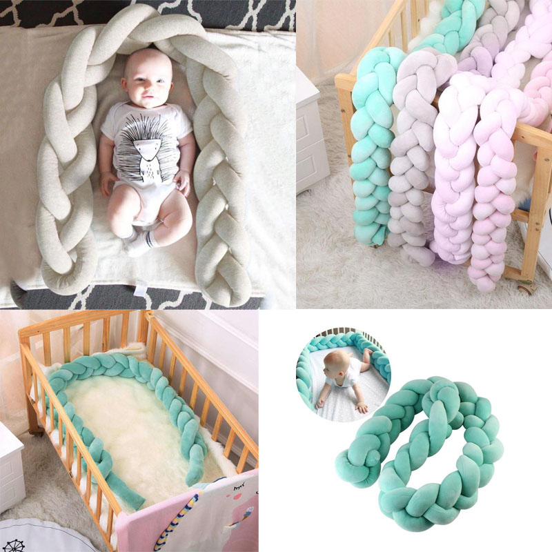 1.5/2M Long Knotted Decorative Pillow Baby Bed Braid Bumper Crib Toys Sofa Cushion Pillow Decorative Pillows Sofa horrored halloween night printed sofa cushion pillow case