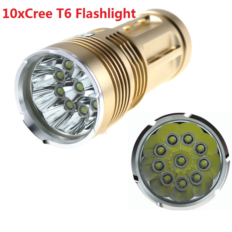 20000 lumens SKYRAY King 10T6 Waterproof LED flashlight 10x CREE XM-L T6 LED Bike Lamp Torch For Camping,Hiking Hunting Work 20000 lumens skyray king 10 x cree xm l t6 led flashlight torch lamp light for hunting camping 4 pcs 18650 battery charger