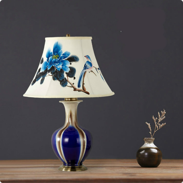 Beau High End Classical Blue Chinese Ceramic Hand Painted Fabric Lampshade E27 Table  Lamp For Bedroom
