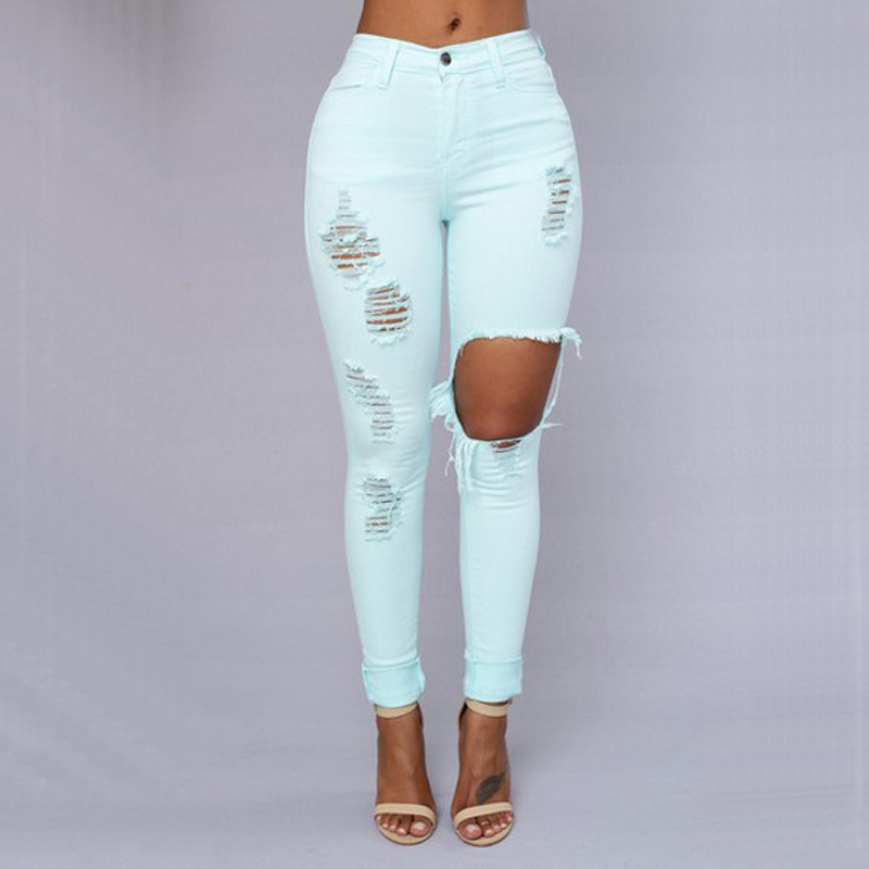 Sexy Ripped Jeans For Women Nice Skinny Big Holes Jeans Mid Waist Pencil  Pants Slim Women Trousers Pink Jeans Plus Size Clothing-in Pants   Capris  from ... c9d5fa7104