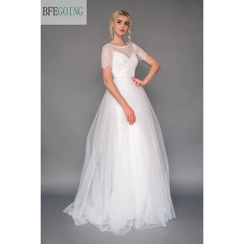 White Lace Tulle Floor Length A line Wedding Dress Short Sleeveless Zipper Buttons Real Original Photos