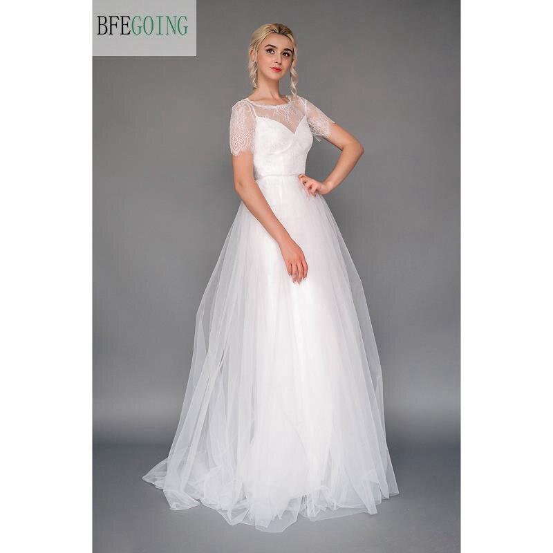 White  Lace  Tulle Floor-Length A-line Wedding Dress Short  Sleeveless Zipper Buttons   Real/Original Photos Custom Made