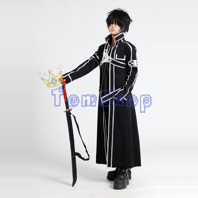 Sword Art Online SAO Kirito Kirigaya Kazuto Cosplay Long Overcoat Jacket Black Cloak Cape Men s