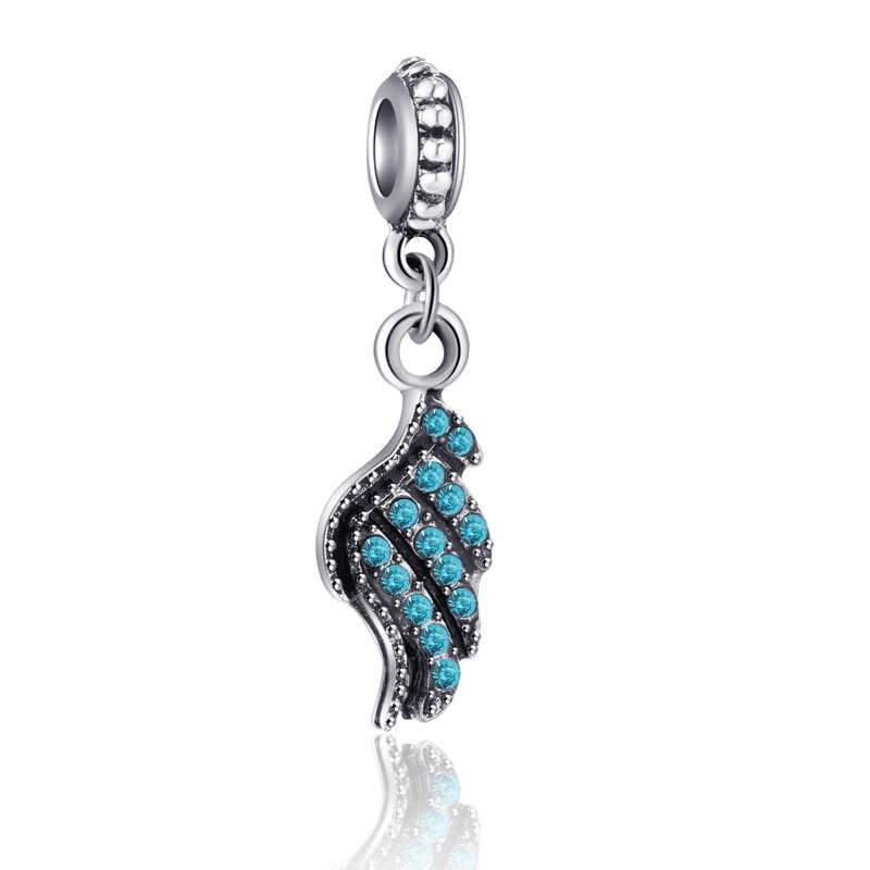 פשוט סגנון כחול צבע הולו קריסטל עין רעה פרח כנף כוכב לב חרוזים קסמי Fit מקורי פנדורה צמידים לנשים