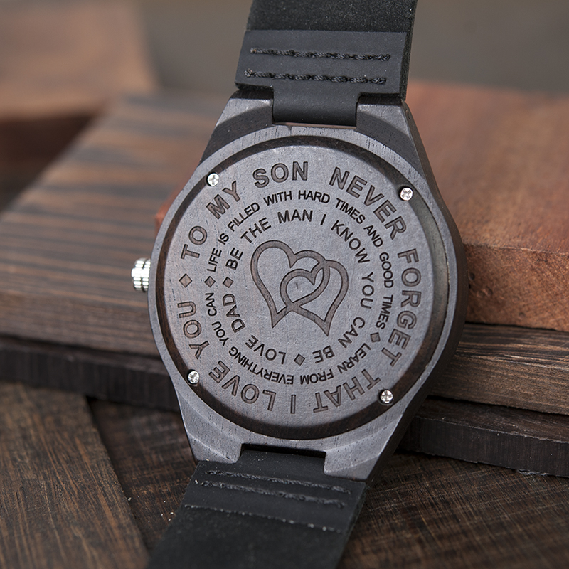 Personalized Ebony Wooden Wrist Watch for Son / Wife / Lover 11