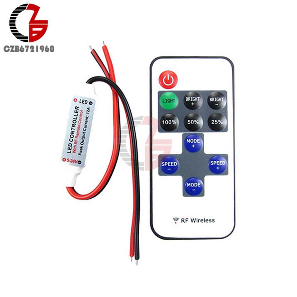 1 zestaw 12 V bezprzewodowy RF pilot do włącznika LED ściemniacz bezprzewodowy pilot zdalnego sterowania przełącznik odbiornik dla taśmy LED RGB