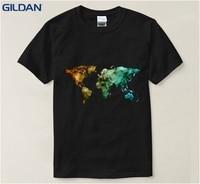 World Map Printed Funny T Shirt 2017 Printing 100 Cotton Tshirt Big Size Euro Size Pop