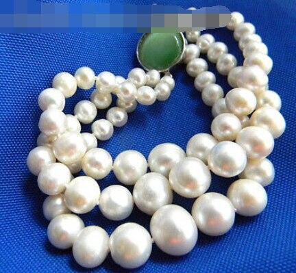 Vente chaude Noble-LIVRAISON GRATUITE >>>@@ 0545 3 Brins 8 ''Rond Blanc D'eau Douce Perle Tour Bracelet