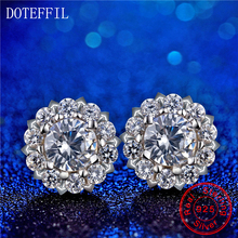925 Silver Female Earrings Classic Round Snowflake Charm Woman Stud Inlay AAA Crystal Fashion Jewelry