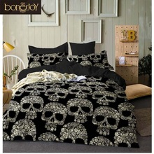 Bonenjoy Black Color Duvet Cover Queen Size Lyx Sockerskalle Sängkläder Set King Size 3D Skull Beddings and Bed Sets