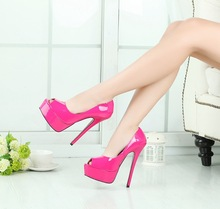 16CM Heel Height Sexy Peep Toe Stiletto Heel Pumps Party Shoes Women's Heels No.012