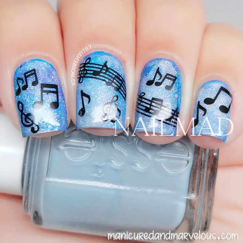 1 Sheet Musical Notes Nail Water Decals Piano Keys Transfer