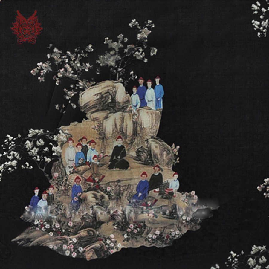 Китайский стиль черный с дизайнерским принтом 100% Шелковая органза ткань для платья чистый шелк Ткань для шитья tejido мм 6 мм SP3658