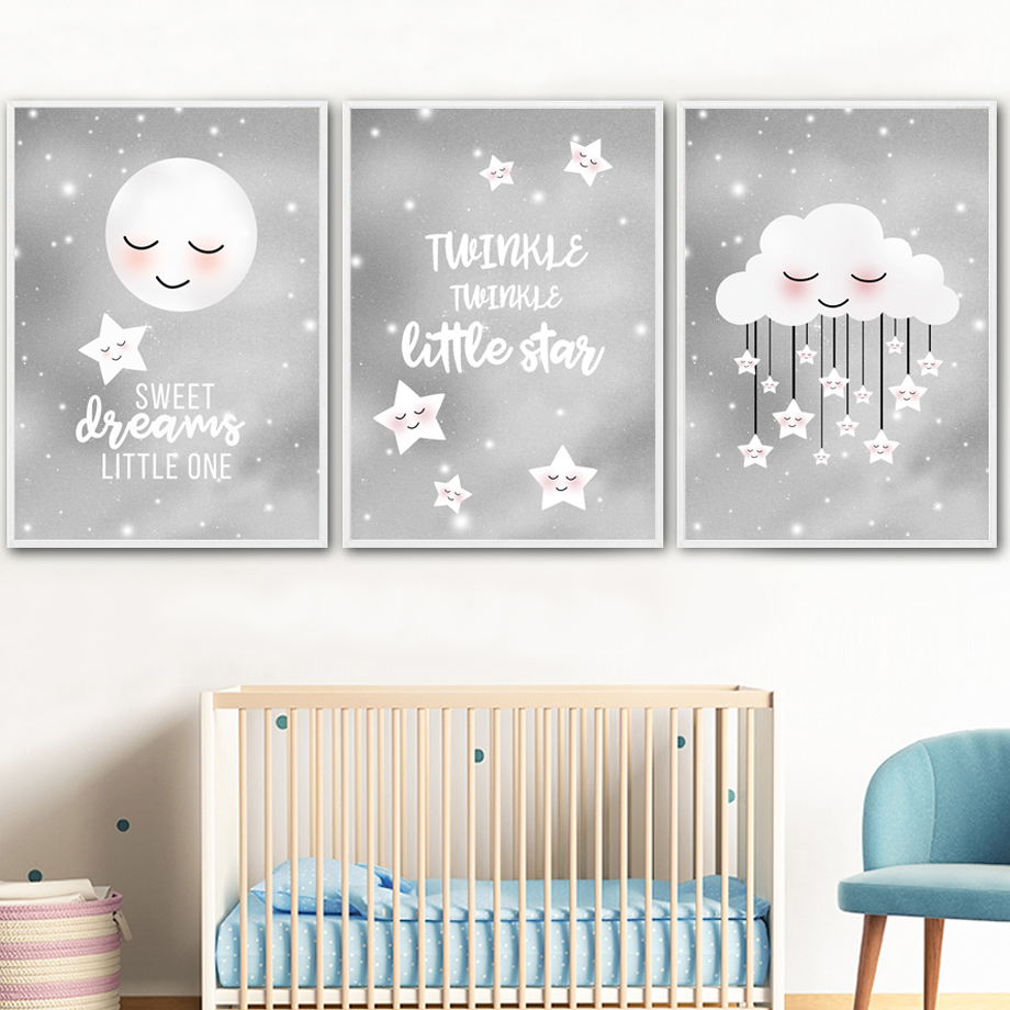 3 Cute Sun Cloud Moon /& Stars Nursery Prints Kawaii Modern Wall Art Pictures