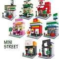 Mini rua série cidade iluminai building blocks coffe loja apple loja mcdonald modelo montagem diy bricks presente para as crianças