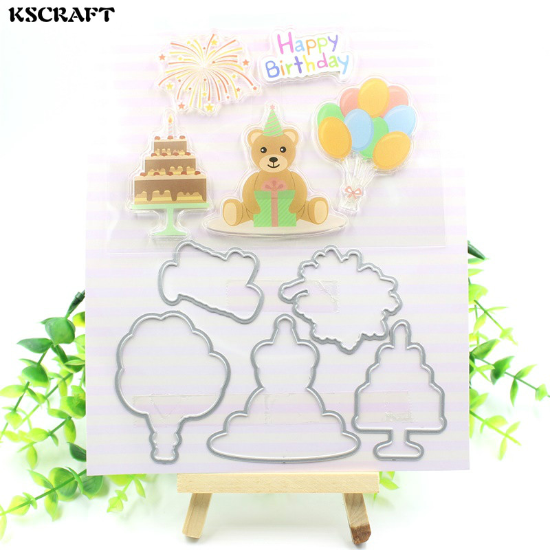 KSCRAFT Happy Birthday Transparent Clear Silicone Stamp And Cutting Dies Set for DIY scrapbooking/photo album Decorative самосвет