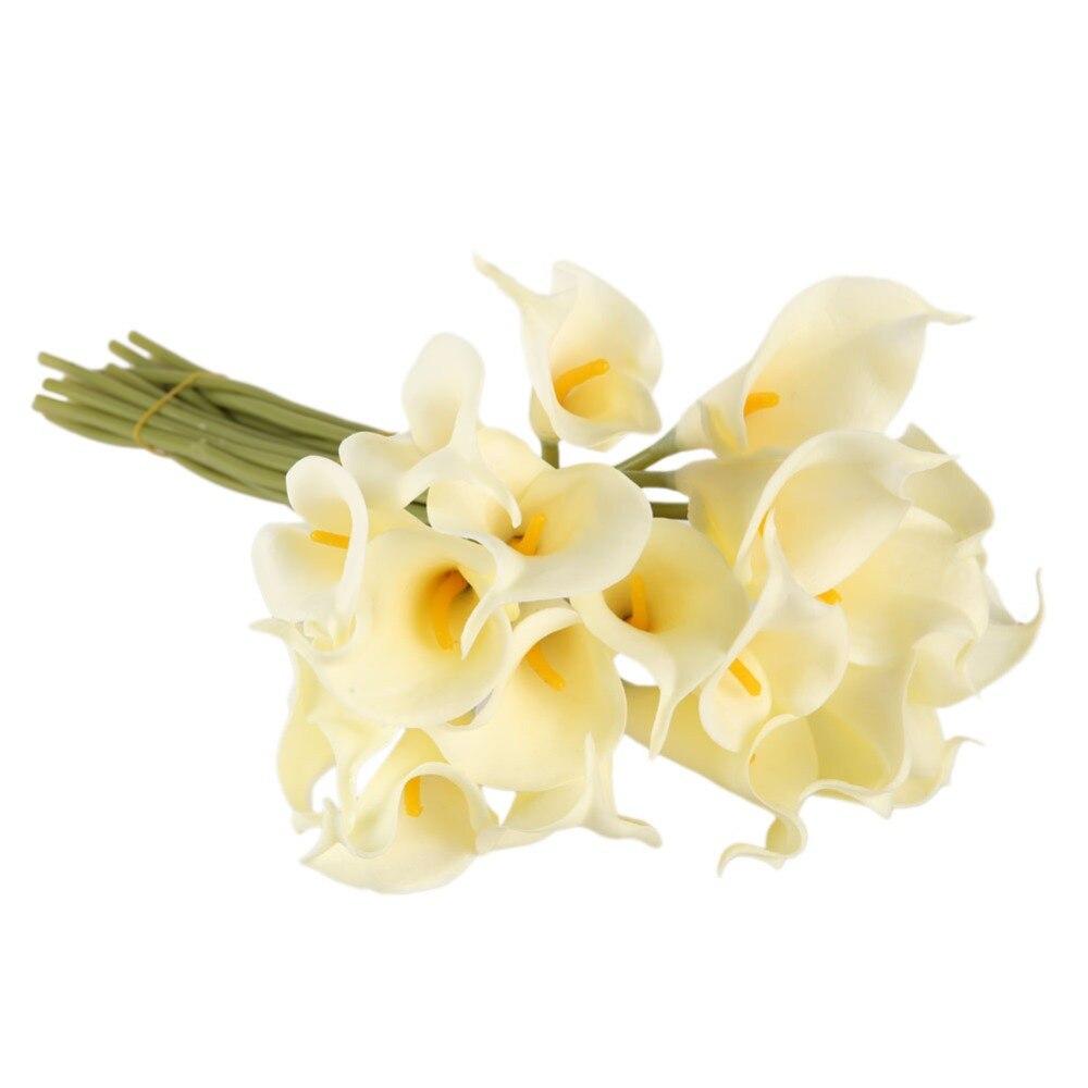10 Unids/lote Cala Artificial Decorativo Flores Ramo de Novia de La Boda Decorac