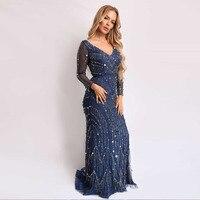 Navy Blue Long Sleeve Beaded Evening Dress Formal Women Dress Evening Gown Mermaid