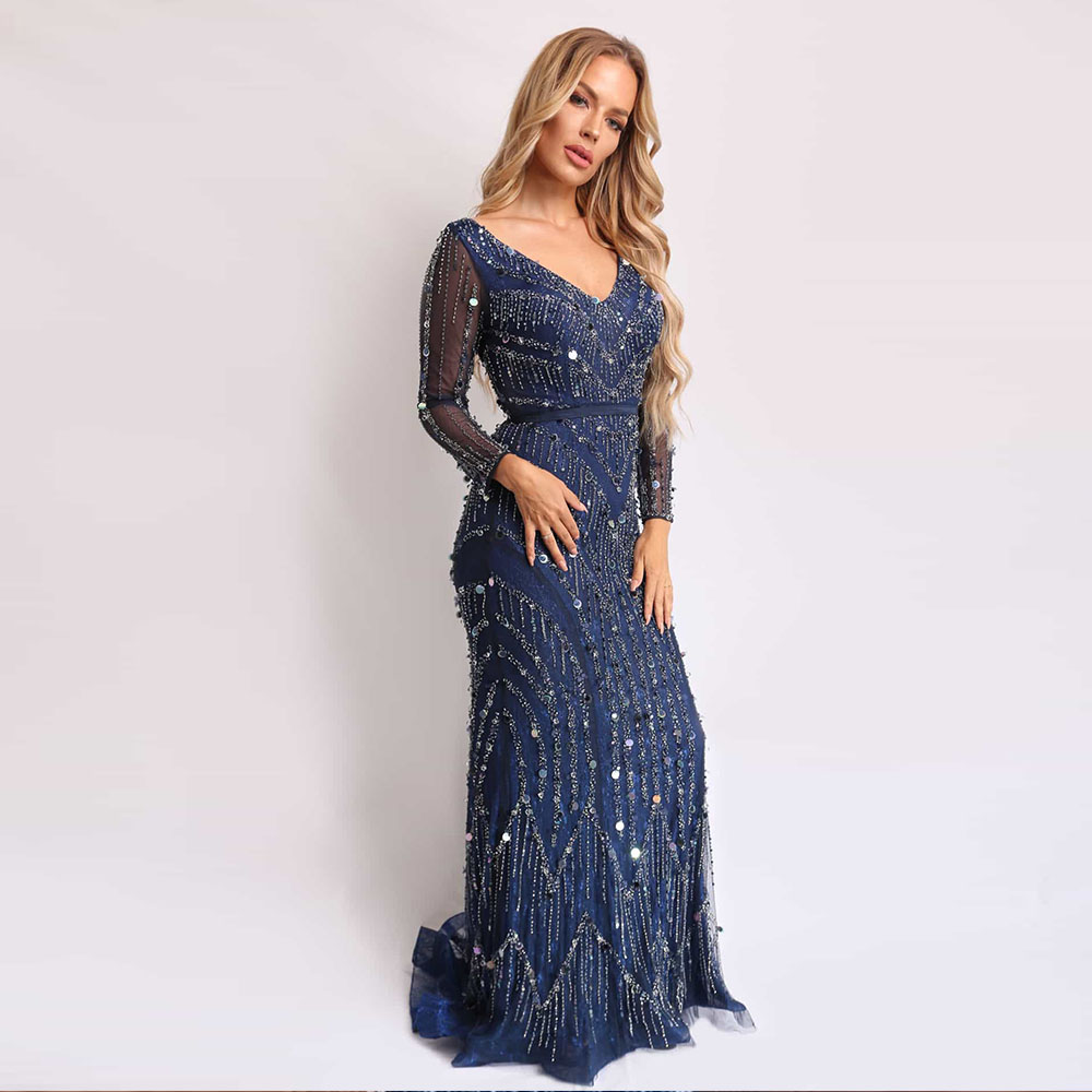 Navy Blue Long Sleeve Beaded   Evening     Dress   Formal Women   Dress     Evening   Gown Mermaid